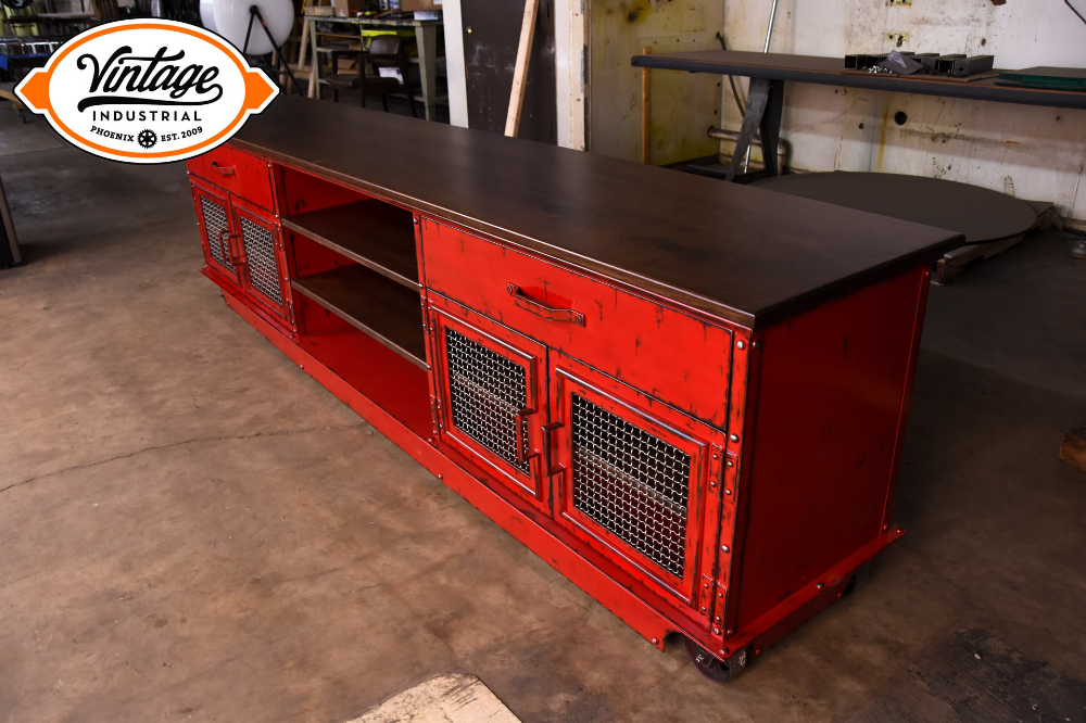 Aged Red Boxcar Ellis Console – Model #E56 #vintageindustrialfurniture