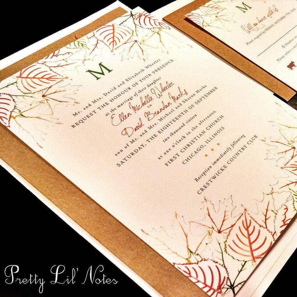 Fall Leaves Leaf Monogram Custom Wedding Invitation Fall Orange ...