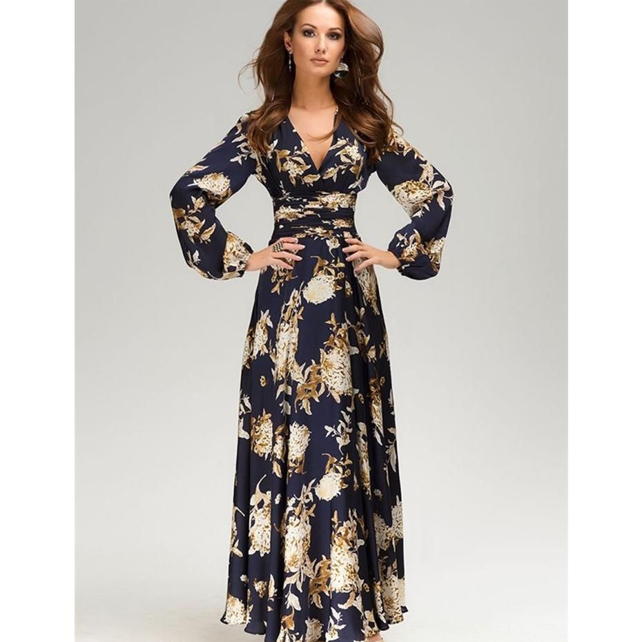 maxi dress women long sleeve v long dress floral print plus