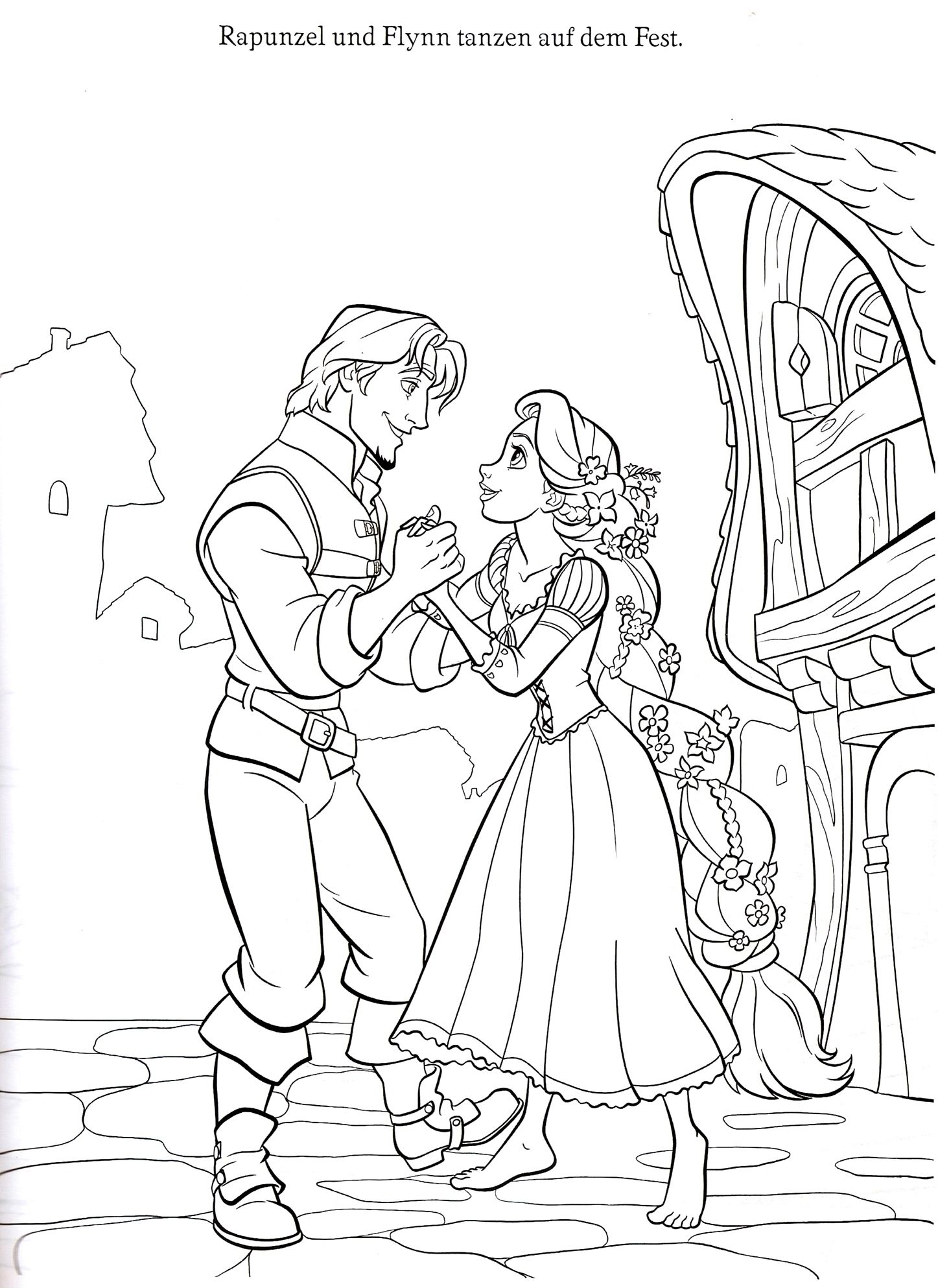 flynn rapunzel disneys tangled coloring page