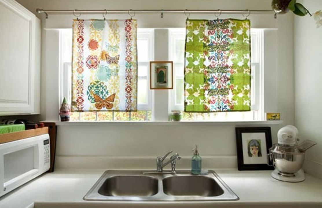 Window covering ideas  tea towels and drapery clips  window covering ideas  pinterest