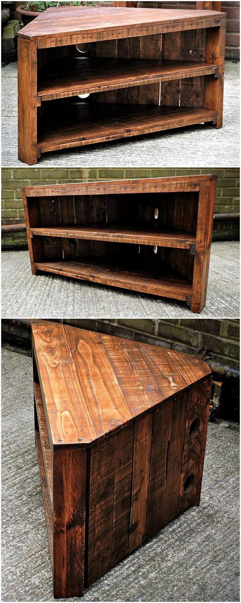 pallets wood corner tv stand | Wood corner tv stand, Diy ...