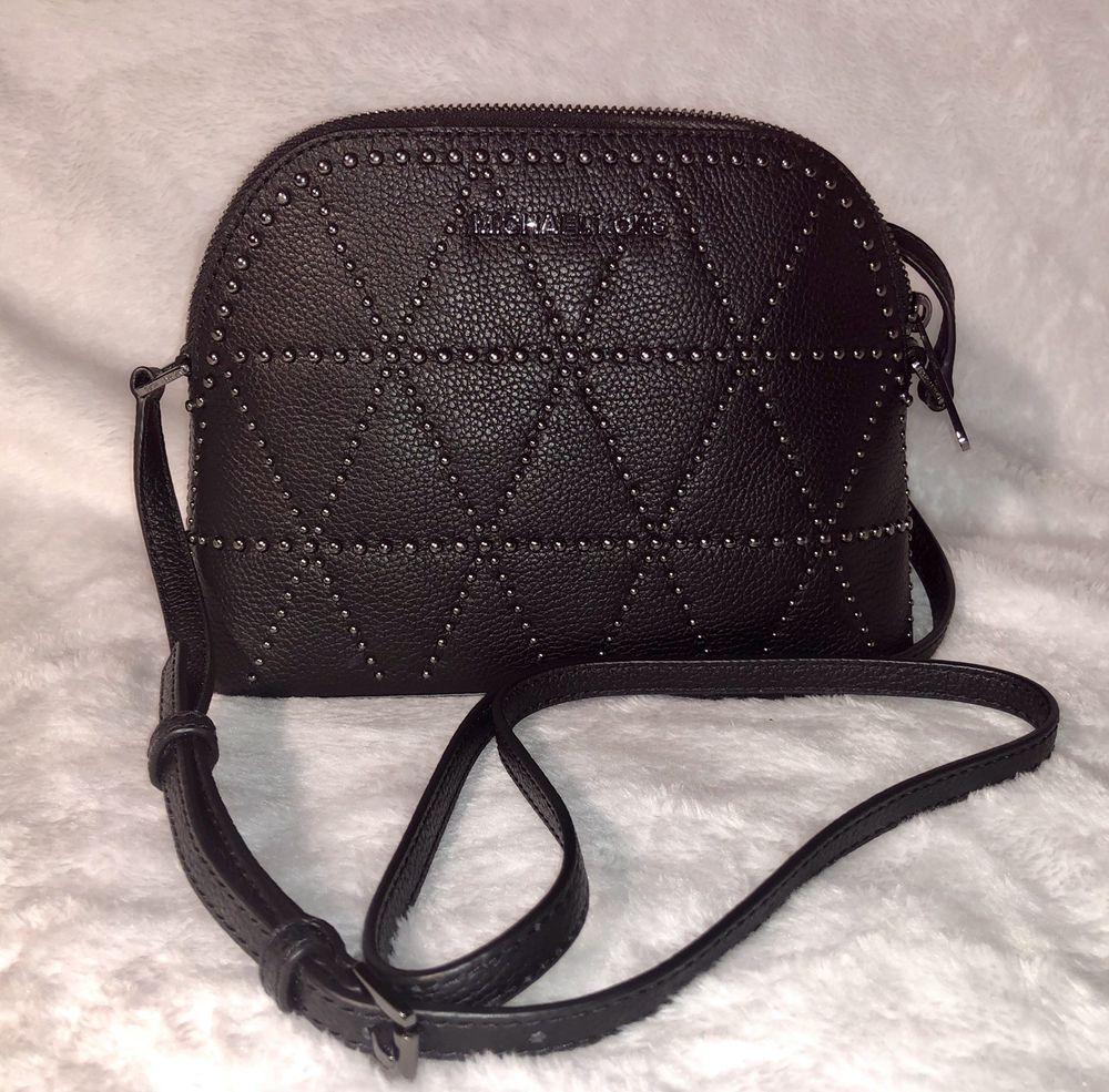 b63527c5ba6d Michael Kors NEW Adele Black Studded Leather Medium Crossbody Dome Purse  Handbag   eBay