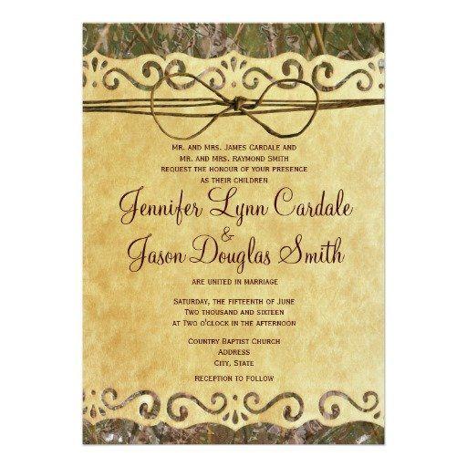Camo Hunting Vintage Paper Wedding Invitation Vintage Paper - Camo wedding invitations templates