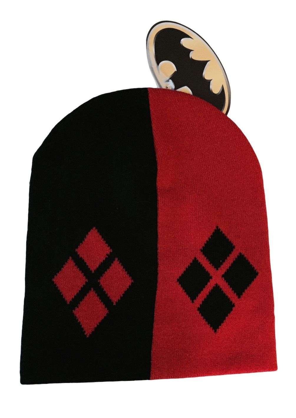 e4b178c8a02 Harley Quinn Symbol Black and Red Slouch Knit Beanie Hat DC Comics Batman  NWT