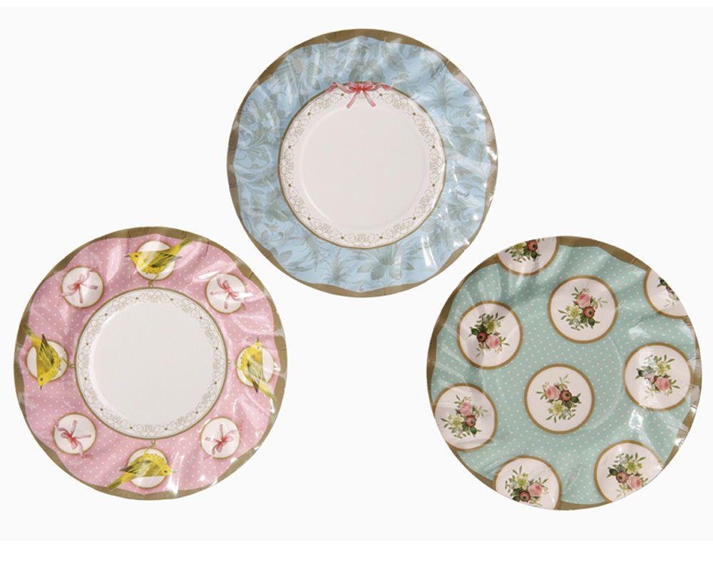 12 Vintage Style Tea Party Plates afternoon tea / buffet Paper Plates 3 designs  sc 1 st  Pinterest & 12 Vintage Style Tea Party Plates afternoon tea / buffet Paper ...