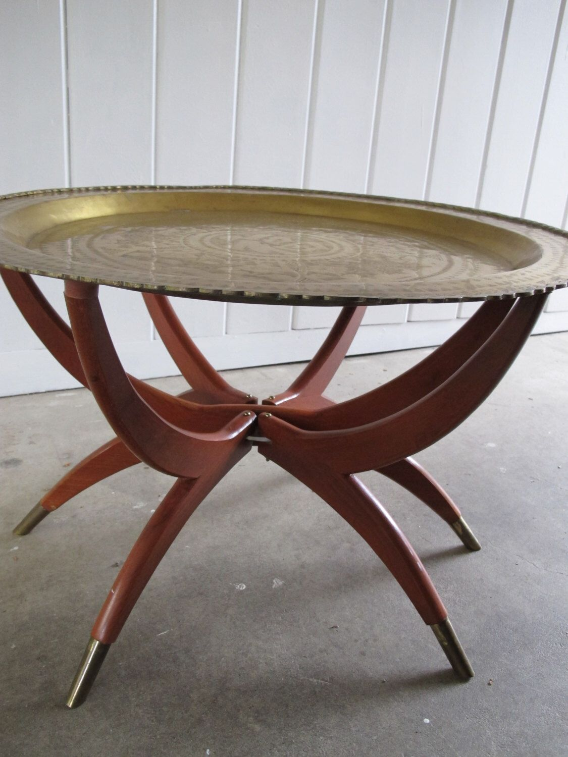 Vintage Mid-Century Round Brass Coffee Table with Folding ...