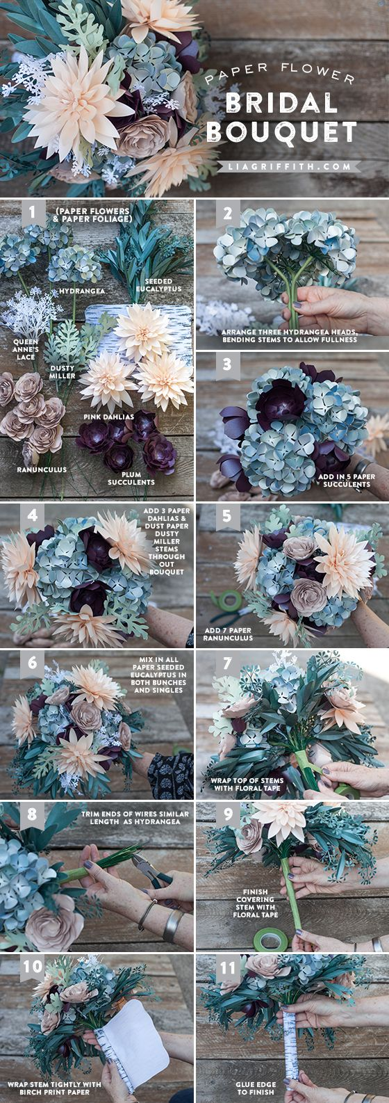 Diy rustic paper bridal bouquet bridal bouquets flower and tutorials diy rustic paper bridal bouquet lia griffith izmirmasajfo