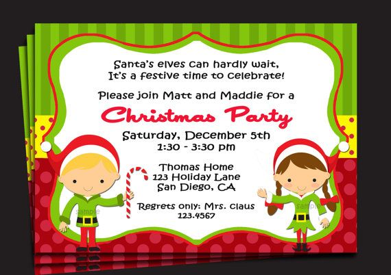 Christmas Party Invitation Printable Or Printed With Free Etsy Kids Christmas Party Free Printable Christmas Party Invitations Christmas Party Invitation Template