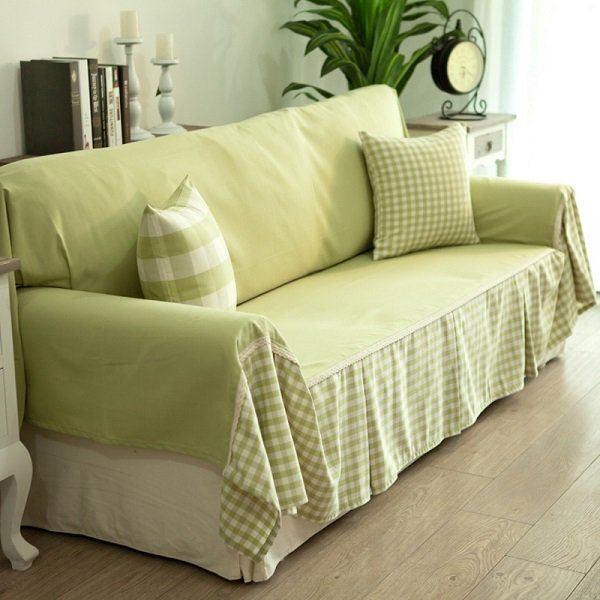 cheap DIY sofa cover ideas green fabrics decorative pillows