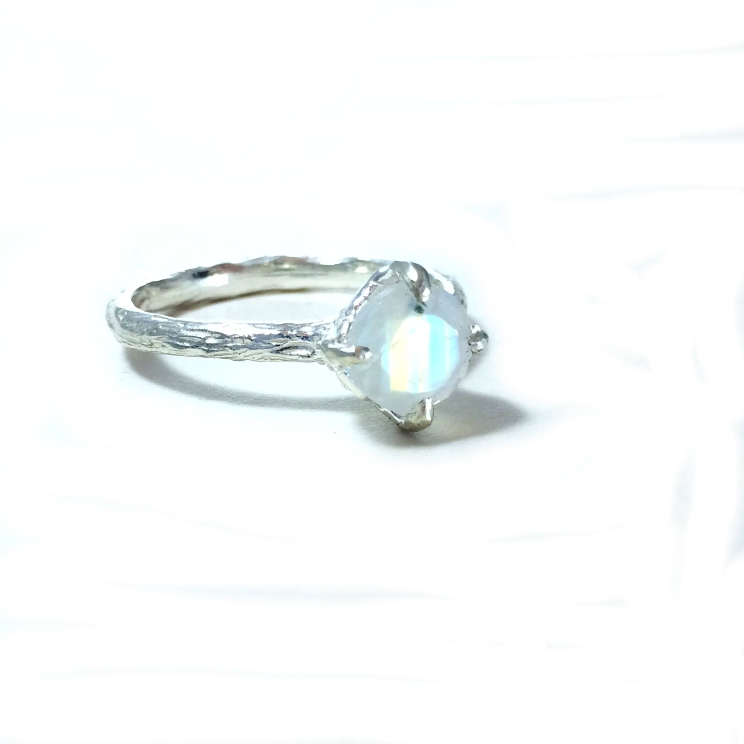 Moonstone engagement ring gemstone twig band nature inspired jewelry