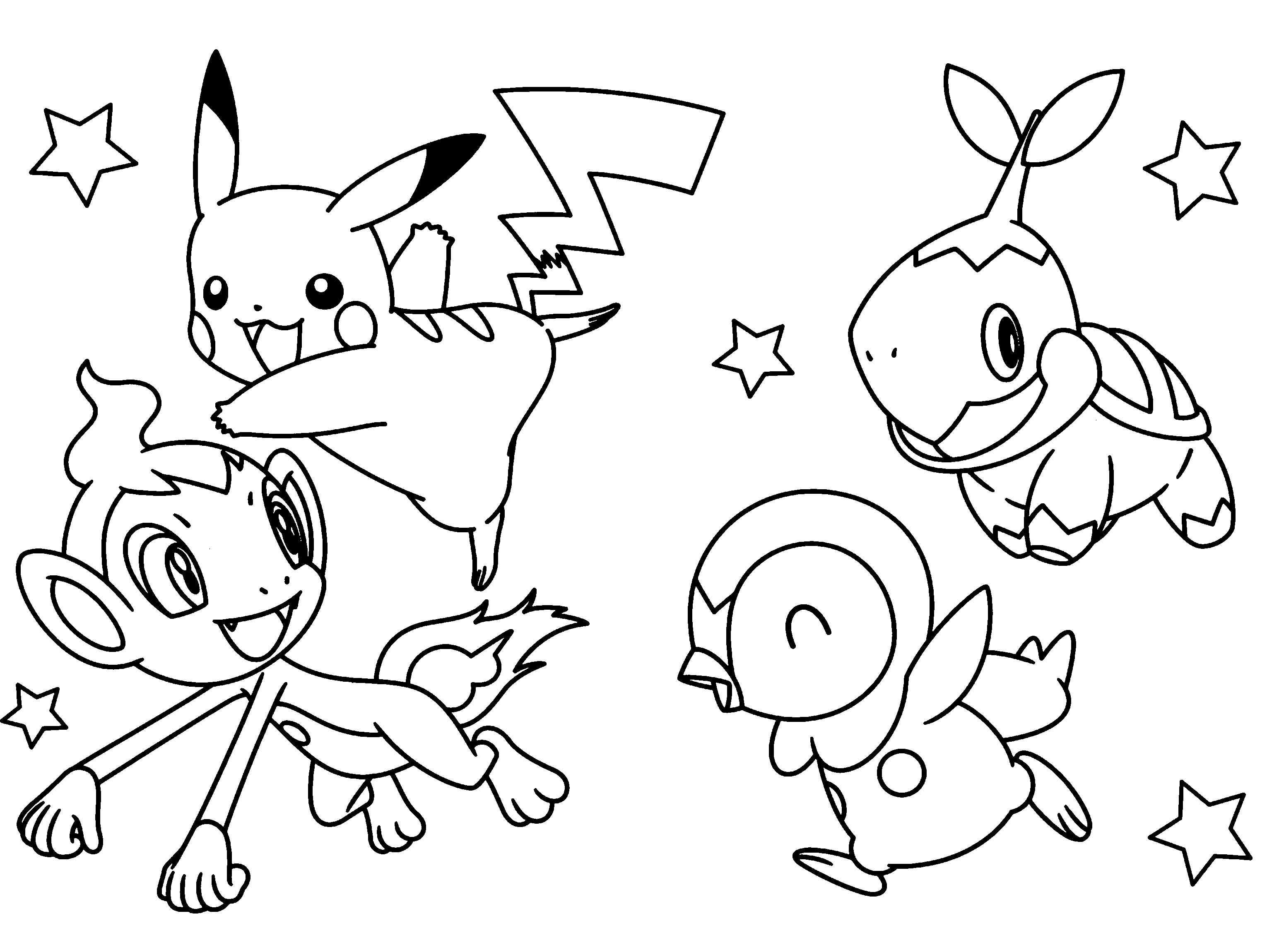The Four Pokemon Are Cute And Great Coloring Page ...