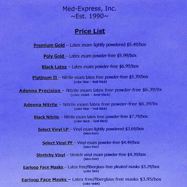 Med Express Price List Call Today For A Free Sample To Place
