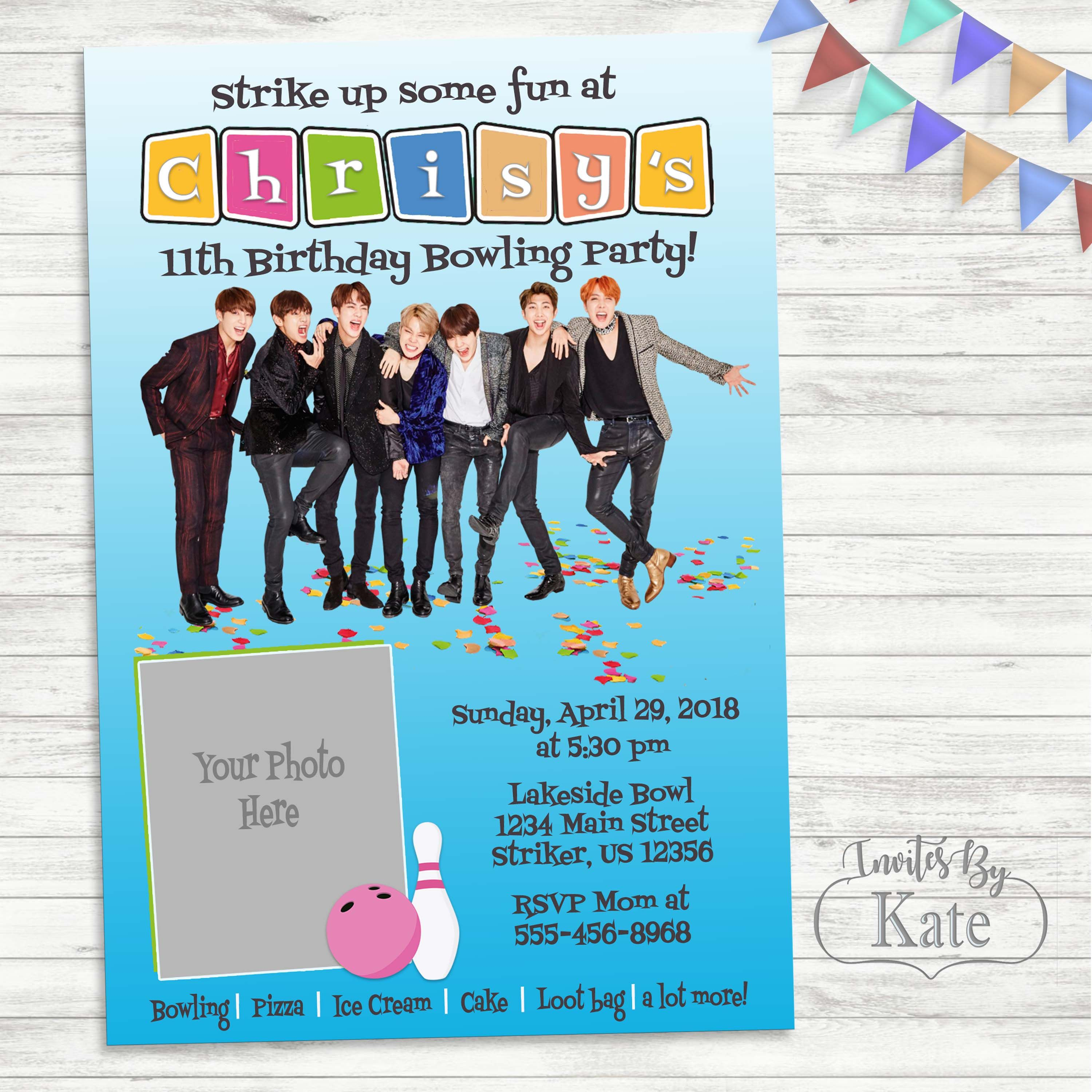 Bts K Pop Confetti Party Birthday Photo Invitation Personalized For You Then Sent Rig Birthday Invitations Photo Birthday Invitations Invitation Card Printing