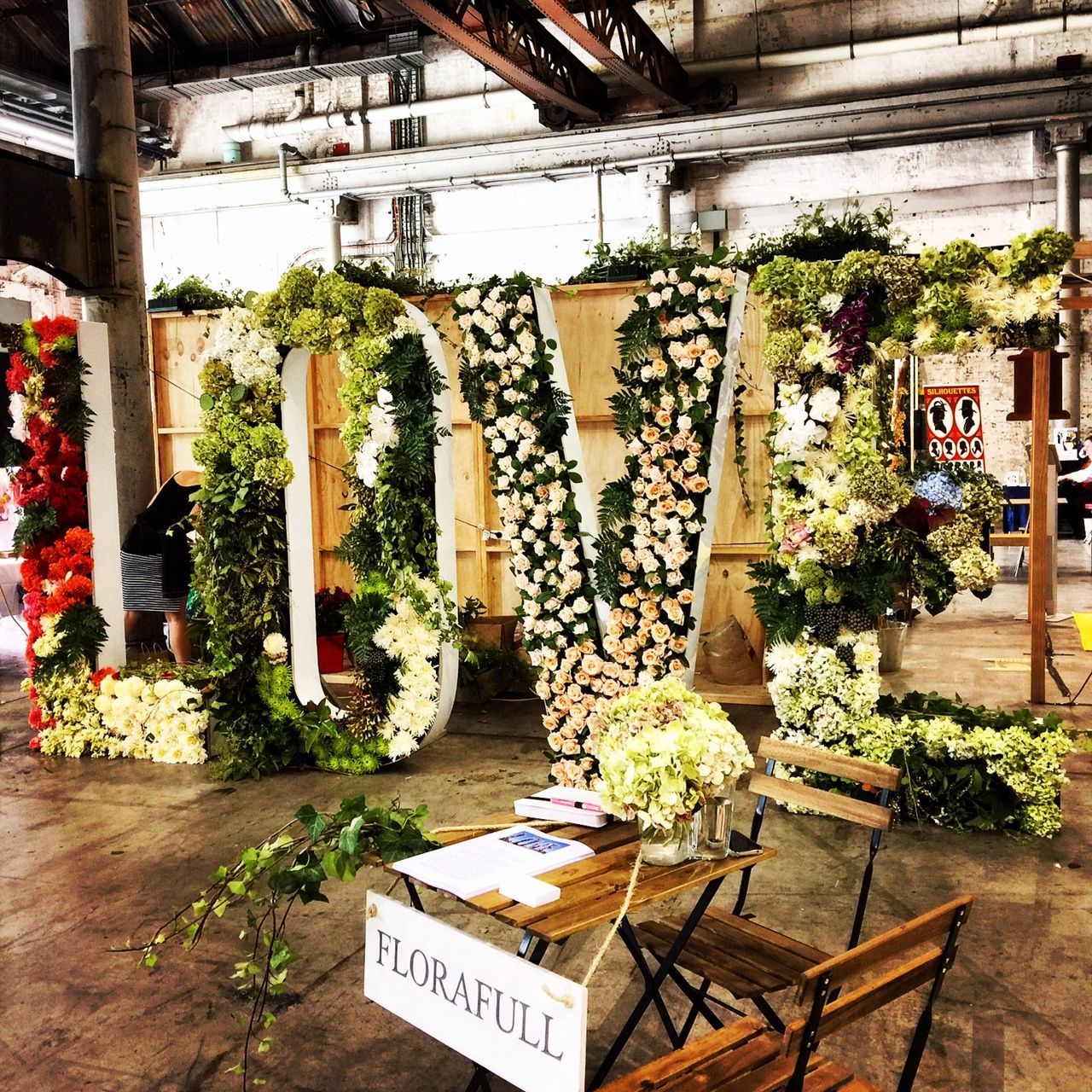 Wedding gate and stage decoration  Our LOVE sign in all itus floral glory at this weekens One Fine Day
