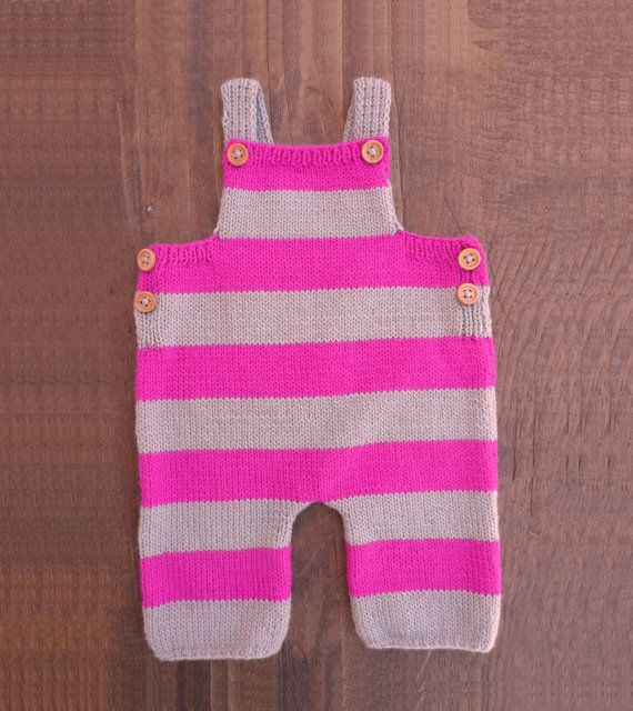Fucsia pink and light grey striped baby overalls