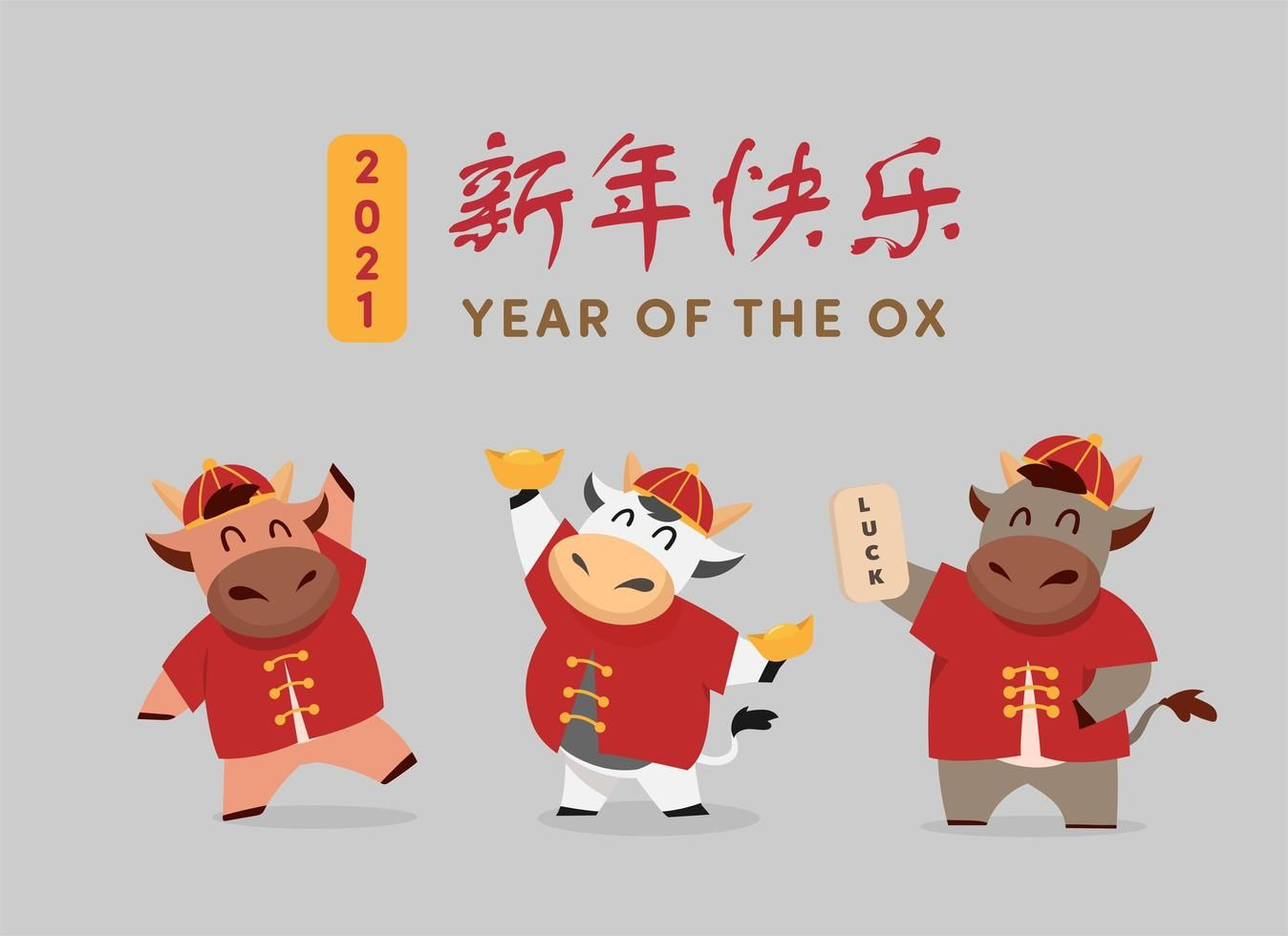 Download Happy Chinese new year 2021 Ox zodiac for free