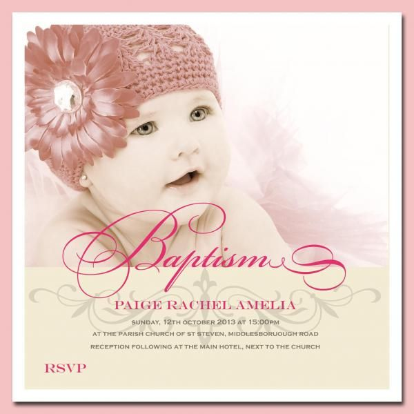 Baby Girl Christening Invitation By Platinum Invitations & Candy ...