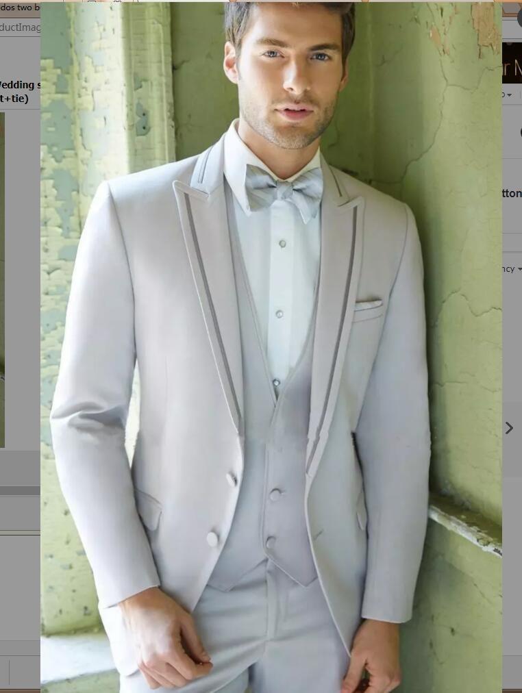 2017 custom peaked Lapel mens suits grey Wedding suits for Men ...