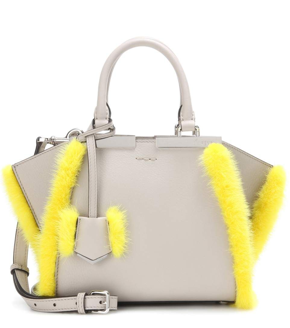493f344b4d FENDI 3Jours Mini Fur-Trimmed Leather Tote.  fendi  bags  shoulder bags   hand bags  fur  tote