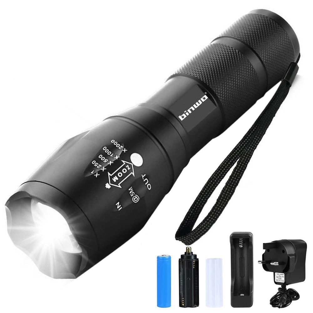 Led Torch Binwo Super Bright 2000 Lumen Rechargeable Torch Cree T6 Tactical Flashlight Super Bright Dual Power Supp Tactical Flashlight Flashlight Cree