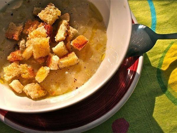 Ricetta Zuppa di porri con crostini dorati