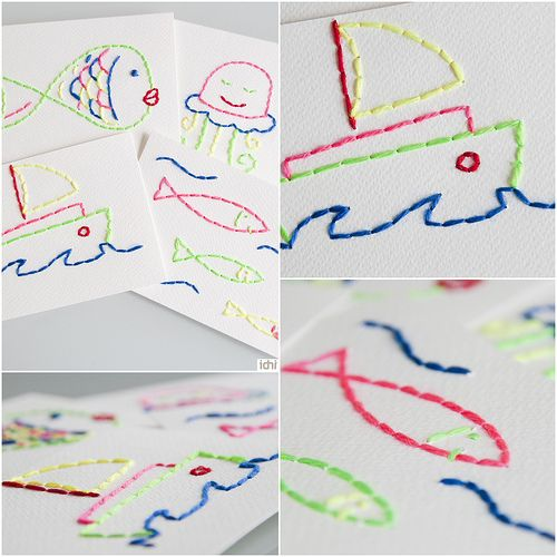 draw, poke holes, let kids loose with threaded needles