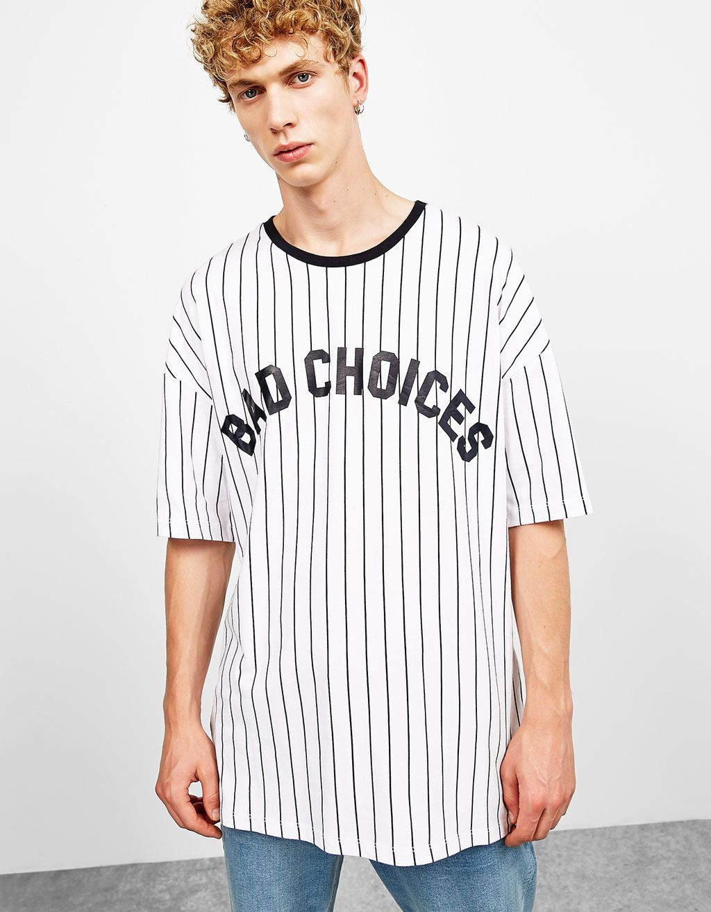 8683e6e4ee09 Boxy fit vertical striped text T-shirt. Discover this and many more items  in Bershka with new products every week
