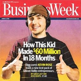 Digg founder Kevin Rose landed on the cover of BusinessWeek in 2006. Reported July 12th Digg Inc., a social-media pioneer once valued at more than $ 160 million, is selling for the deeply discounted price of about $ 500,000, three people familiar with the matter said.    The buyer is New York technology development firm Betaworks, which is attempting to revive a news-sharing site that was outmaneuvered by Facebook Inc. and Twitter Inc.