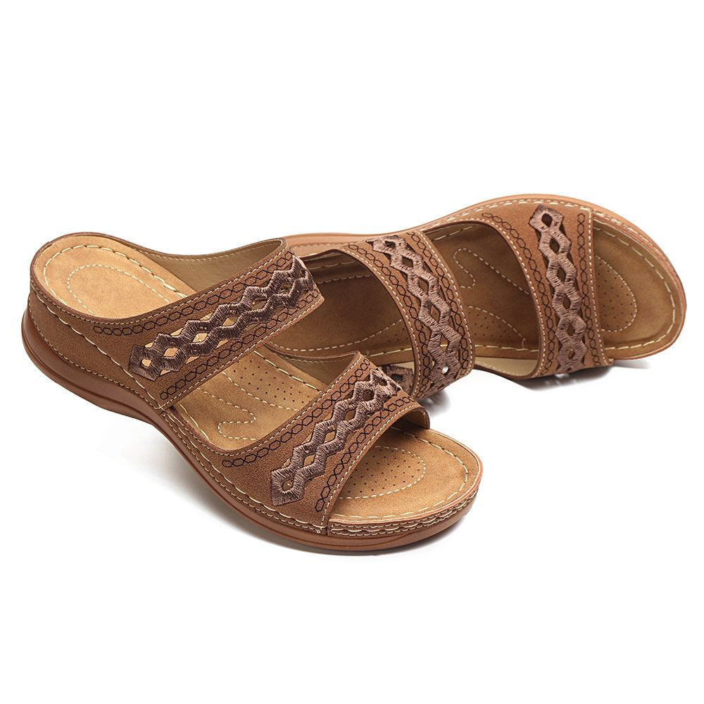 LOSTISY Handmade Stitching Comfortable Open Toe Casual