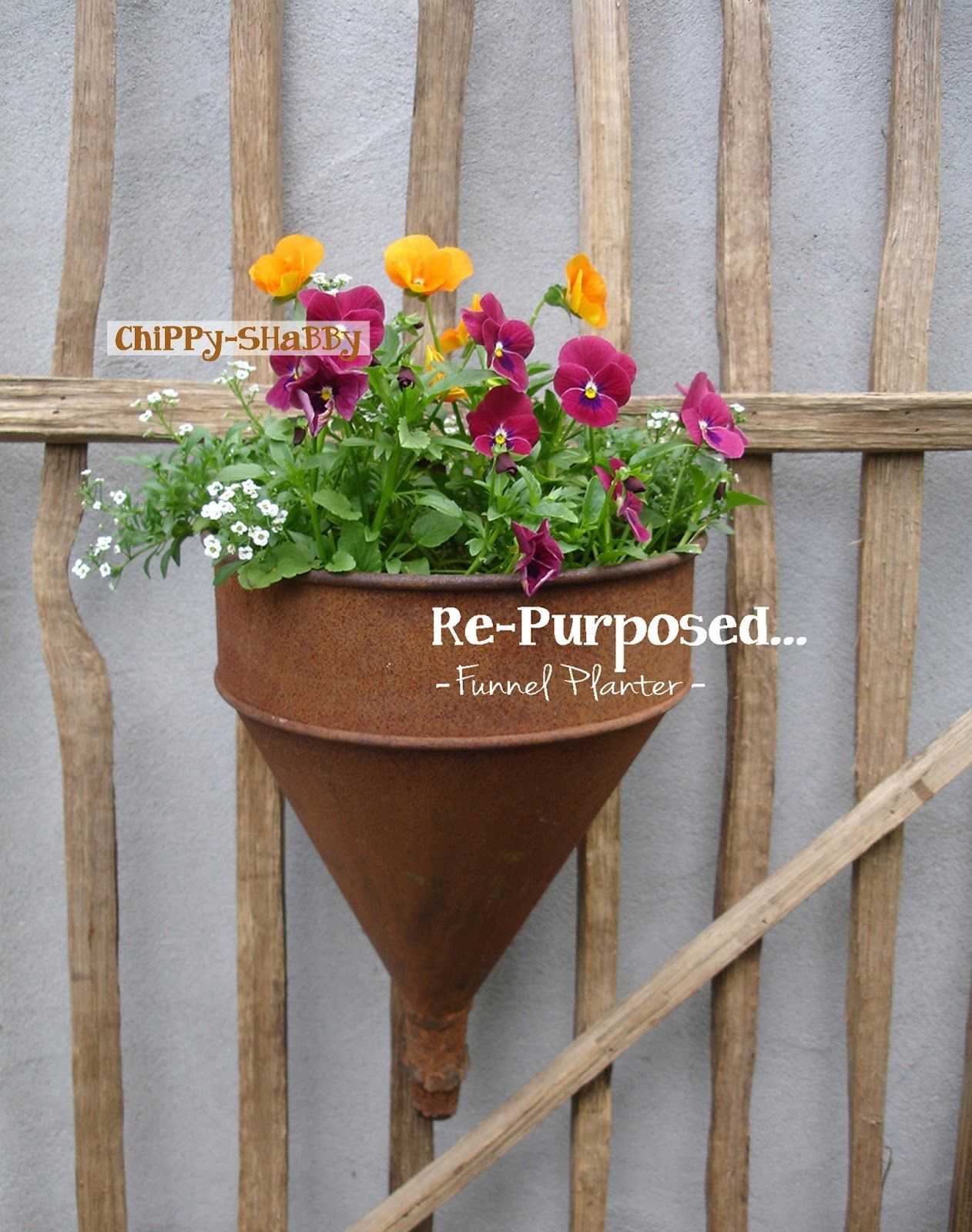 Flat Back Funnel Now Hanging Planter Perfect For A Fence Like This Or Even Garden Shed Door Re Purposed Metal Ice