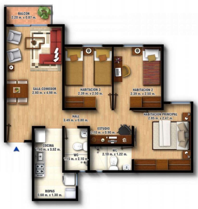 Planos de departamentos con medidas de las habitaciones for Apartamentos pequenos planos