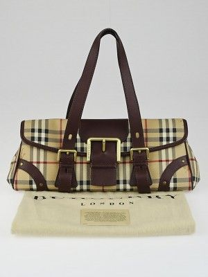 eaf80a7a66a This adorable Burberry Haymarket Check Coated Canvas Small Shoulder Bag is  perfect for carrying your girly essentials in style.