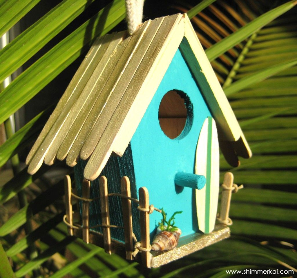 Natures Market Beach Hut Style Brightly Coloured Wood Bird House Nesting Boxes