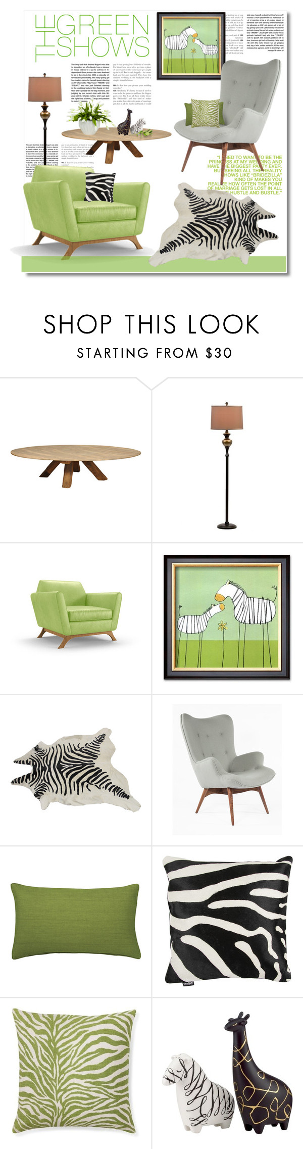"""green zebra"" by limass on Polyvore featuring interior, interiors, interior design, home, home decor, interior decorating, Andrea, Joybird Furniture, Control Brand and OKA"