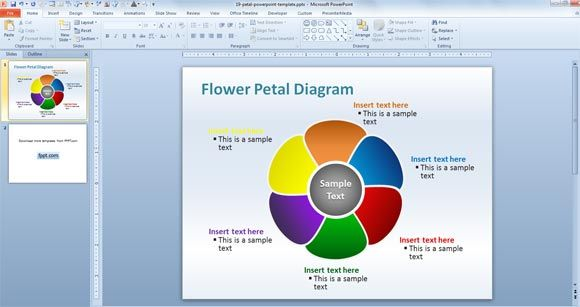 editable petal powerpoint diagram template for powerpoint