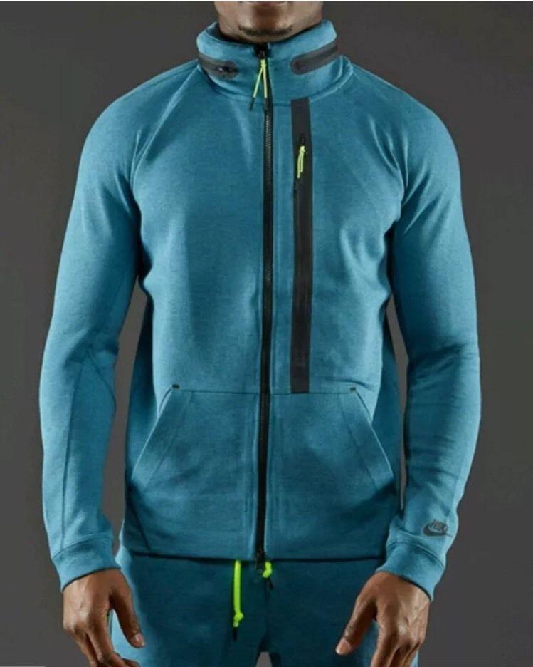 Nike mens tech fleece aw77 fz hoody jacket riftblue size