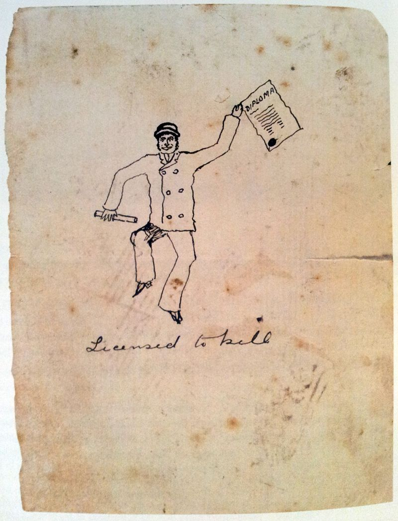 self portrait by conan doyle depicting himself holding his  self portrait by conan doyle depicting himself holding his medecine diploma and titled licensed to