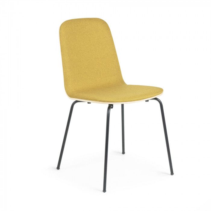 Chaise En Contreplaque De Chene Naturel Avec Partie Avant Recouvert Tissu Couleur Moutarde Structure