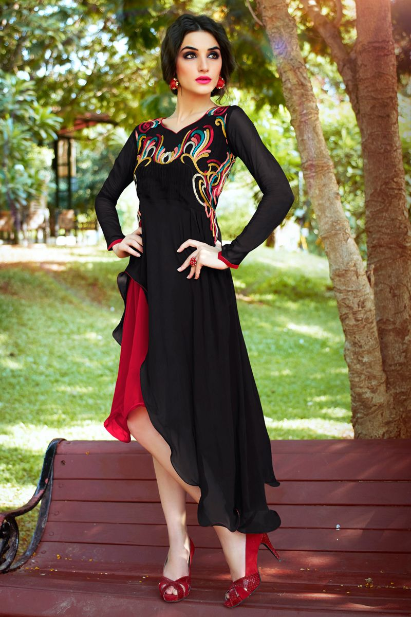 336ed628fd Black Color Designer Party Wear Kurti Online From Skysarees ...