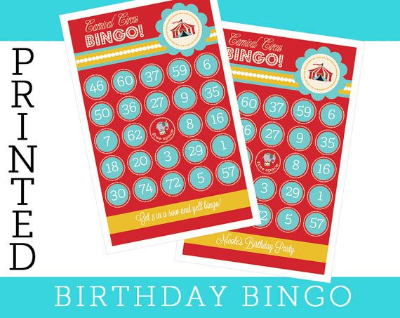 Birthday bingo cards for a carnival theme make the most ...