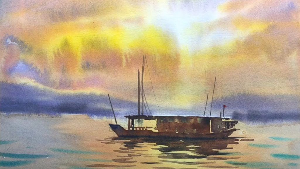 Painting Seascape Video Tutorials Demonstrations Paintingtube Aquarellmalerei Aquarell Malen Aquarell