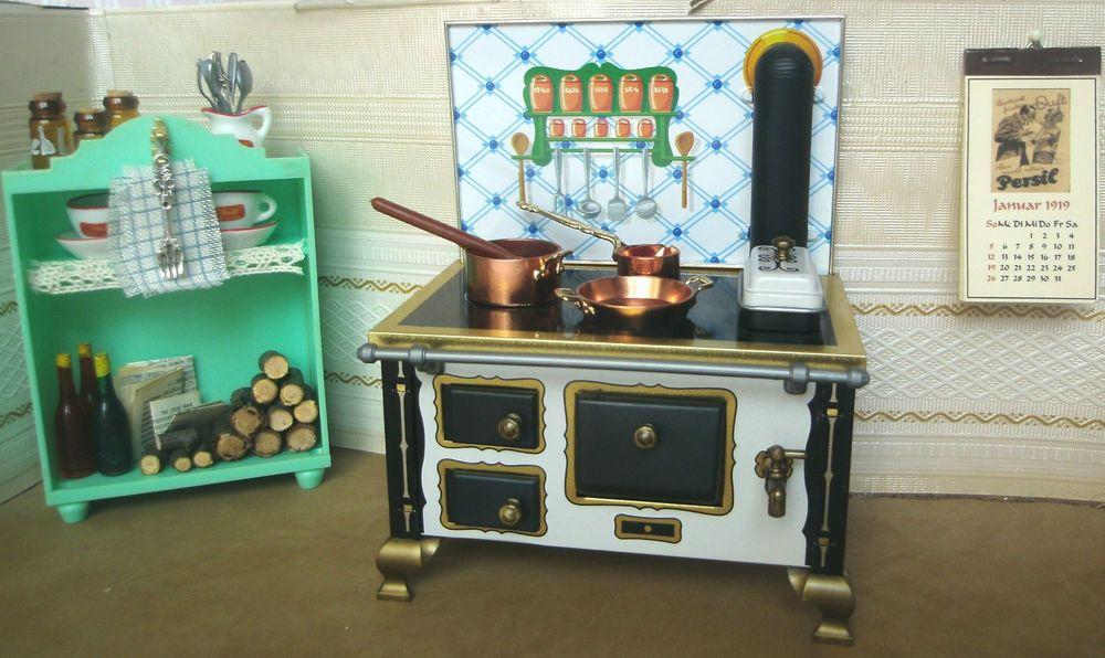 Küchenschrank Vintage ~ Puppenstube herd blech litho schopper viel zubehör küche vintage