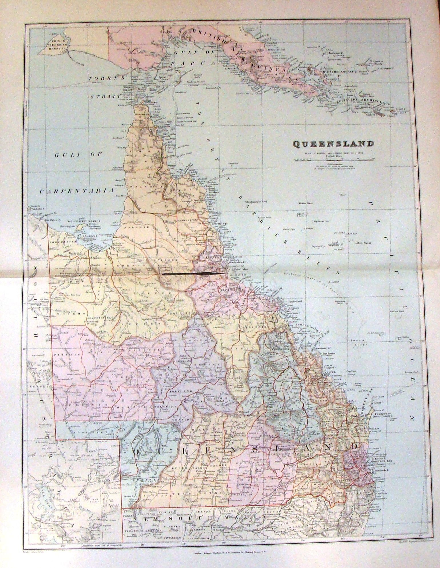 Antique Map QUEENSLAND by Stanford Large Chromolithograph