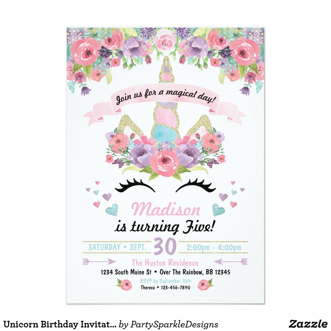 Invitación del cumpleaños del unicornio | Pinterest | Unicorns ...