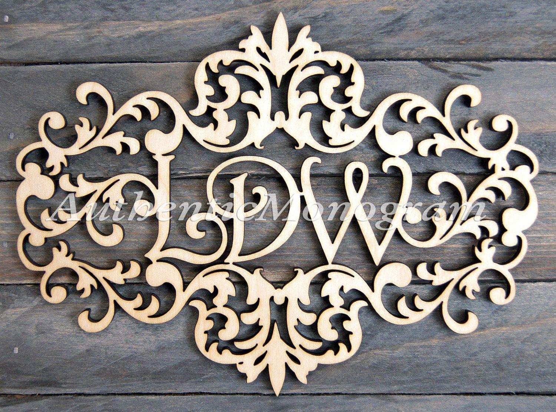 32inch Wooden Victorian Frame Monogram Unpainted Monogram Home Decor Wedding Decor Initial Monogram Door Hanger Guarden 111732
