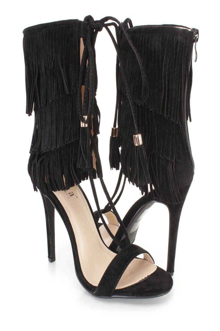 Doll up any outfit with these sexy single sole heels! The features include a faux suede upper with a fringe cuffed shaft, front lace up string tie design, open toe, back zipper closure, smooth lining, and cushioned footbed. Approximately 4 3/4 inch heels.