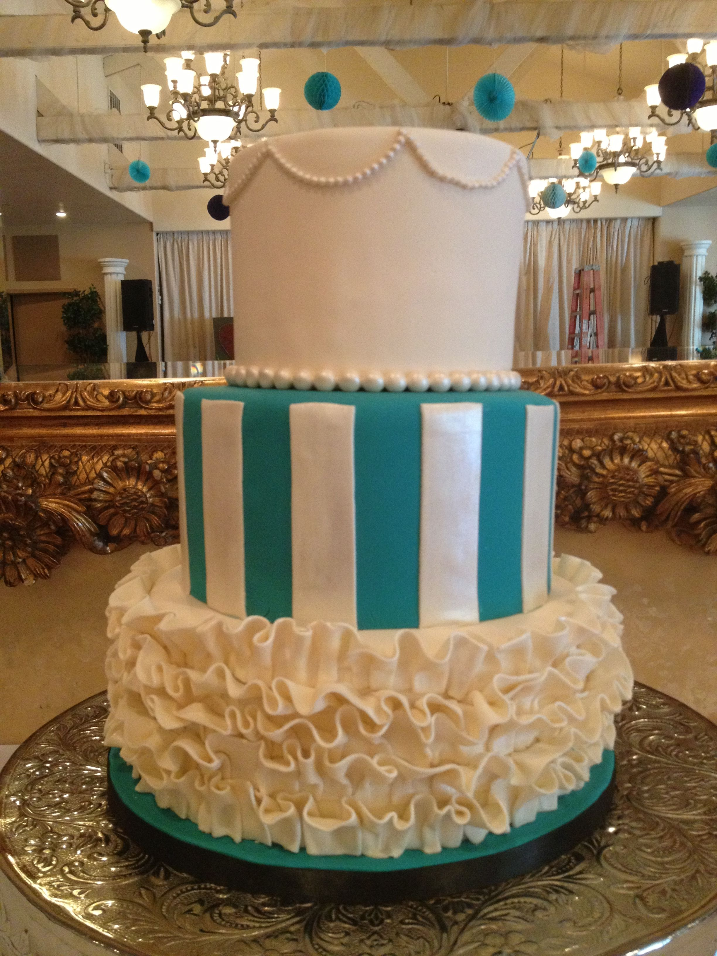 wedding bakeries in sacramento ca%0A Teal and white fondant wedding cakes  Fondant ruffles  stripes and pearls   Blue and