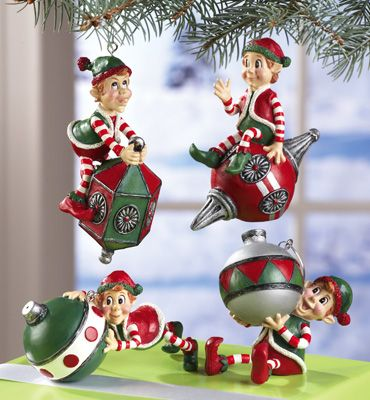 s/4 fun santa's elves christmas collectible ornaments | christmas