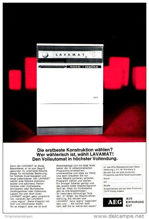 Original Werbung Anzeige 1966 1 1 Seite Aeg Lavamat